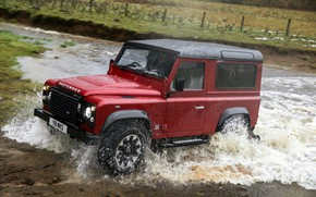 Picture water, squirt, red, movement, SUV, Land Rover, 2018, Defender, V8, Defender Works V8, jubilee spezzare