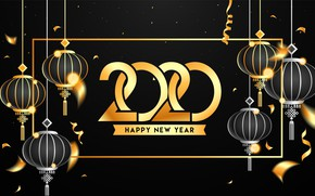 Picture text, New year, gold, black background, 2020