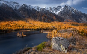 Wallpaper autumn, forest, the sky, clouds, trees, mountains, lake, stones, rocks, the slopes, tops, height, yellow, ...