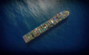 Picture The ocean, Sea, The ship, The view from the top, A container ship, CMA CGM, …