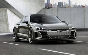 Picture road, asphalt, Audi, coupe, 2018, e-tron GT Concept, the four-door
