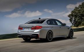 Picture the sky, asphalt, clouds, grey, BMW, sedan, side, rear view, 4x4, 2018, four-door, M5, V8, …
