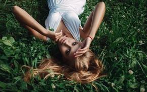 Picture grass, Girl, dress, lies, shoulders, Sasha Rusko
