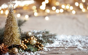 Picture winter, decoration, tree, Christmas, New year, new year, Christmas, vintage, winter, bokeh, decoration, cozy