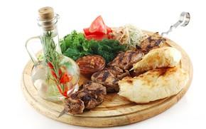 Picture bread, white background, Board, vegetables, kebab, skewer