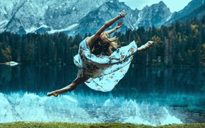 Picture forest, grass, girl, trees, landscape, mountains, pose, lake, jump, shore, dance, dress, brown hair, twine, …