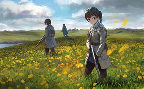 Picture flowers, weapons, girls, meadow, soldiers
