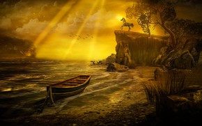 Picture sea, the sky, clouds, rays, light, landscape, sunset, birds, nature, rock, stones, rendering, open, tree, …