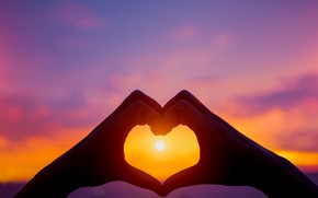 Picture love, sunset, heart, hands, love, heart, sunset, romantic, purple, hands