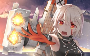 Picture look, weapons, hand, girl, Azur Lane