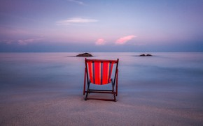 Picture sand, water, clouds, sunset, the ocean, stay, shore, chair, chaise