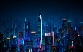 Picture China, Minimalism, Night, The city, Neon, Style, Skyscrapers, Building, China, City, Art, Art, Style, Night, …