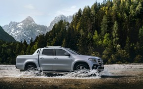 Picture forest, mountains, river, Mercedes-Benz, pickup, 2018, X-Class, gray-silver