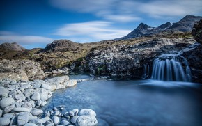 Picture mountains, lake, waterfall, Scotland
