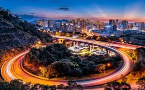 Picture road, night, the city, lights, lighting