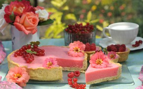 Picture berries, cake, decoration, souffle, zinnia