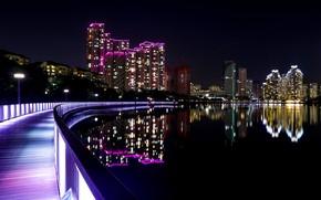 Picture night, bridge, river, building, skyscrapers, South Korea