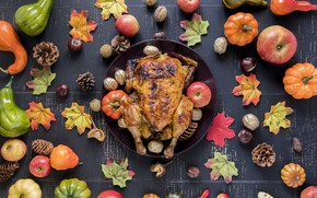 Wallpaper autumn, leaves, background, apples, chicken, colorful, pumpkin, fruit, nuts, maple, vegetables, bumps, wood, autumn, leaves, ...