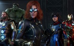 Picture Hulk, Thor, Iron Man, Ms. Marvel, Black Widow, Marvel's Avengers