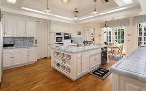 Picture Windows, kitchen, mansion, lamps, cabinets