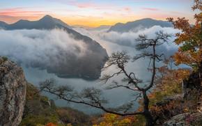 Picture autumn, clouds, landscape, mountains, nature, fog, river, vegetation, South Korea