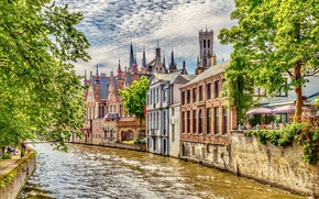 Picture greens, the sky, the sun, clouds, trees, river, people, home, channel, Belgium, Brugge