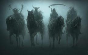 Wallpaper death, war, Apocalypse, fantasy, art, riders, hunger, plague, the four horsemen of the Apocalypse