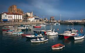 Picture sea, landscape, building, home, boats, pier, Spain