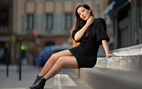 Picture look, smile, dress, steps, Sarah, legs, sitting, bokeh