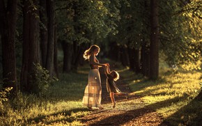 Picture forest, mood, woman, child, dance, girl, schate, motherhood