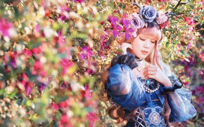 Picture summer, girl, light, flowers, nature, style, roses, garden, dress, outfit, horns, Asian, wreath, cutie, the …