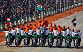Picture India, parade, motorcyclists, New Delhi, Republic day, Avenue Rajpath