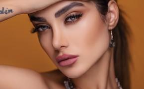 Picture look, girl, face, eyelashes, model, earrings, makeup, beauty, Pagani Ali