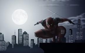 Picture the city, the moon, swords, Deadpool, Deadpool