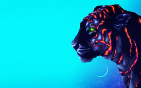 Picture Figure, Cat, Tiger, Background, Art, Neon, James White, Synth, Retrowave, Synthwave, New Retro Wave, Futuresynth, …