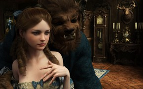 Picture girl, monster, beauty and the beast