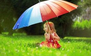 Picture Grass, Umbrella, Mood, Little girl