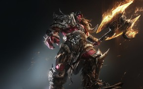 Picture Warcraft, Fire, Orc, Fan Art, Armor, Axe, Game Art, by G-host Lee, G-host Lee, Red …