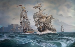 Picture The ocean, Sea, Wave, Ship, Sailboats, Ships, Sails, Painting, The great Northern war, Oleg Yudin, …