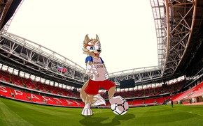 Wallpaper Field, The ball, Sport, Football, Wolf, Russia, Art, 2018, Arena, Lawn, FIFA, FIFA, Spartacus, Open ...