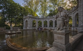 Picture the sun, trees, Park, Germany, fountain, sculpture, Berlin, Fairy fountain