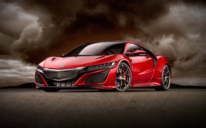 Picture red, background, art, sports car, Honda NSX