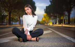Picture look, pose, street, blouse, sitting, Nina, pants, bokeh