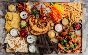 Picture cheese, wings, vegetables, sauce, French fries, appetizer, cuts, pretzel, crackers