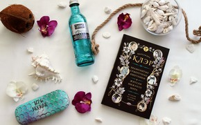 Picture flower, summer, flowers, mood, coconut, book, shell, mineral water, Cassandra Clare, rope rope