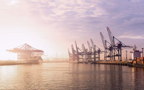 Picture The sun, Port, Germany, Dawn, Hamburg, A container ship, Terminal, Container, Zaton