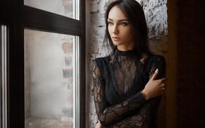 Wallpaper look, girl, pose, hand, portrait, window, Xenia, Sergey Fat, Sergey Zhirnov