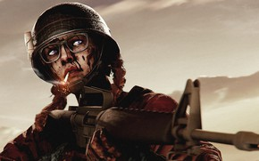 Picture rendering, blood, glasses, soldiers, cigarette, machine, helmet