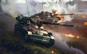 Picture The game, Smoke, War, The explosion, Battle, Tank, Technique, Attack, War Thunder, WarThunder, by Olivi, …