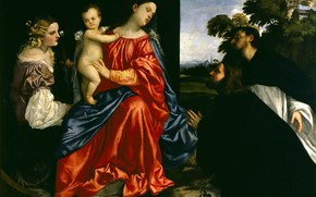 Picture Titian Vecellio, The Madonna and child, 1512-1516, St Dominic and a donor, St Catherine